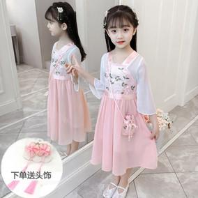 女童汉服夏装3儿童洋气5雪纺连衣裙2020新款中国风7时髦12岁古装9