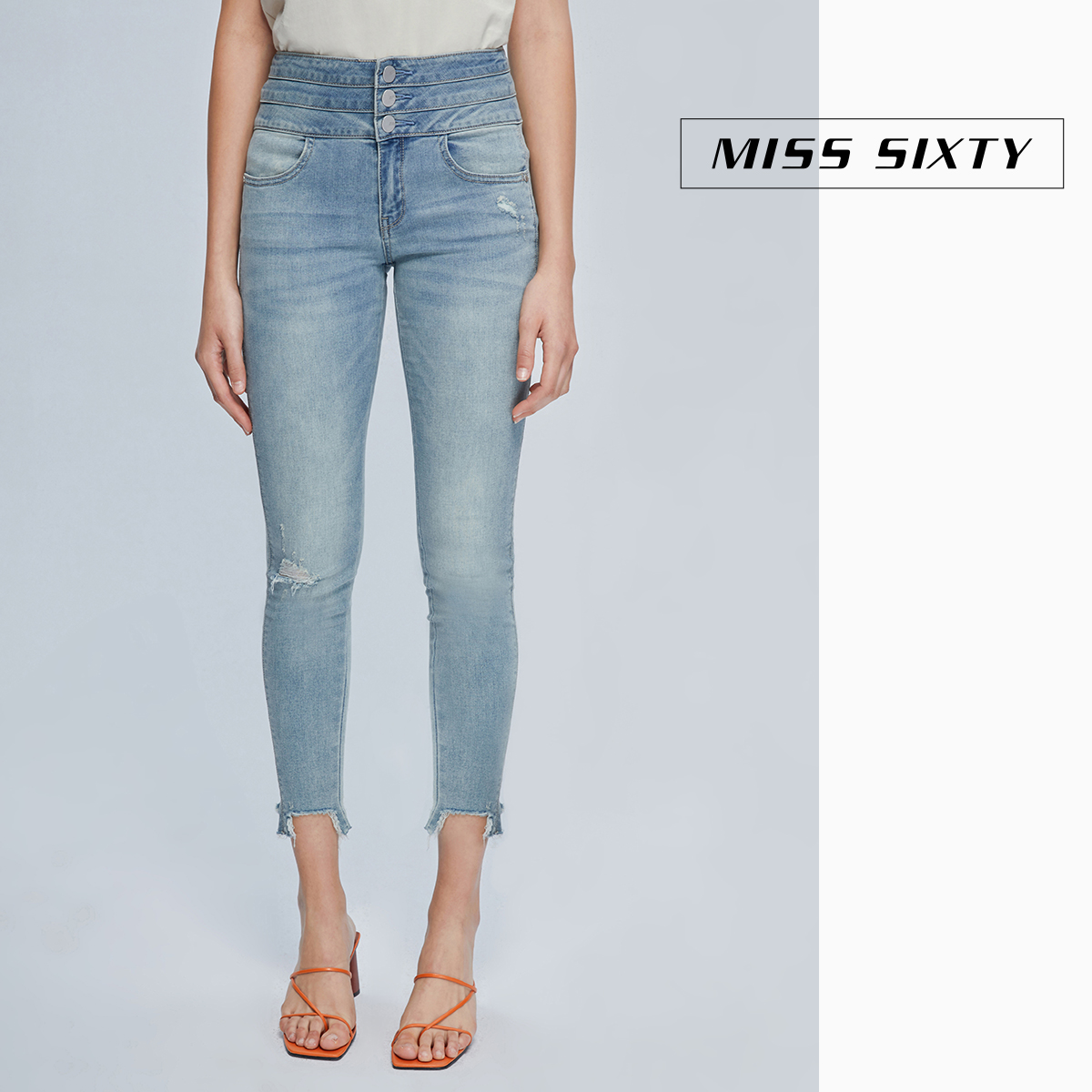 Miss sixty2020 spring new tight legged pants with holes showing thin and all-around high waist jeans for women