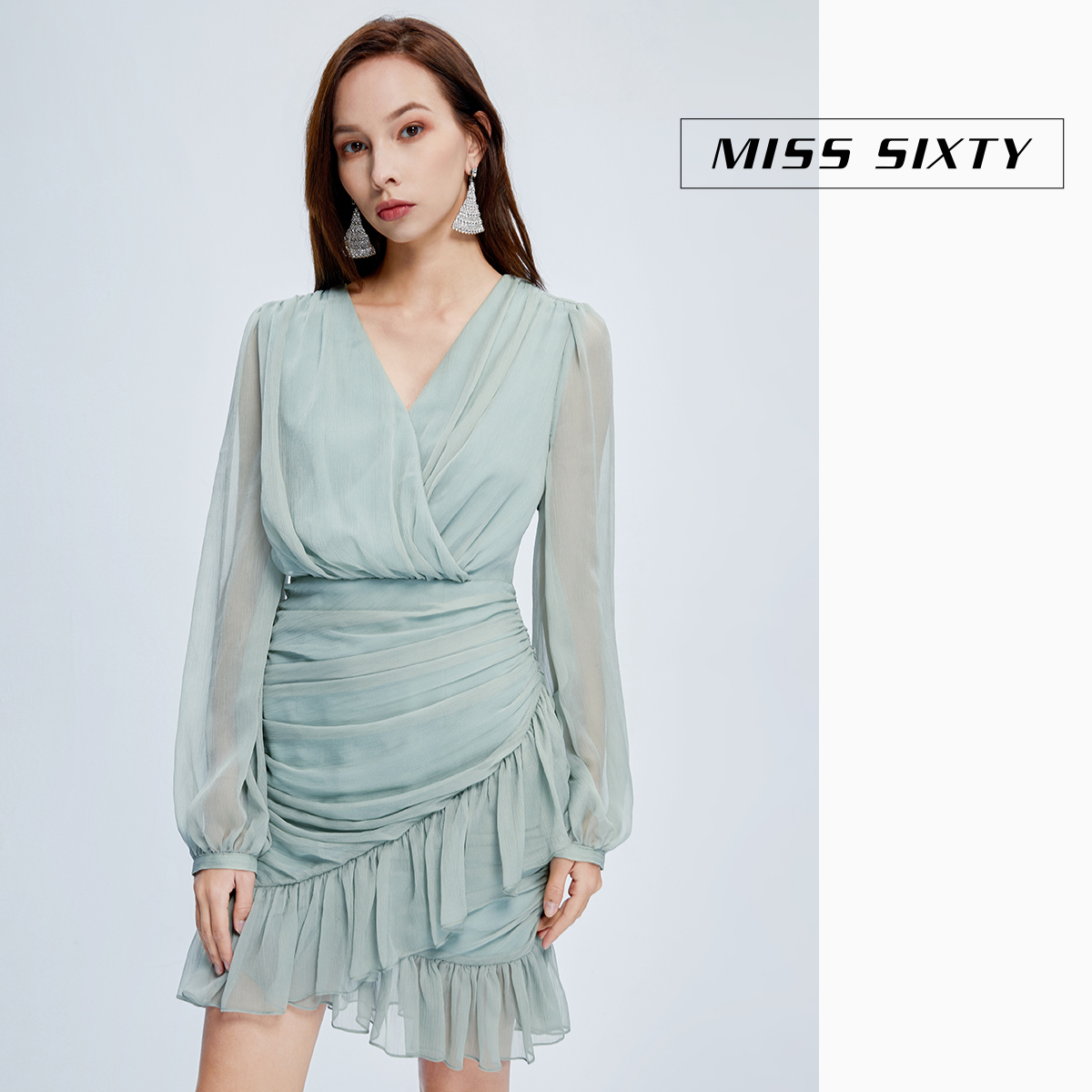Miss sixty2020 spring new V-neck pleated high waist short skirt Long Sleeve Chiffon dress female