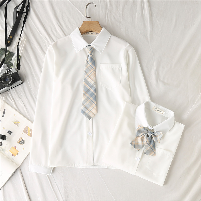 JK制服衬衫女长袖2021年春装新款宽松学生白色衬衣短袖上衣夏季