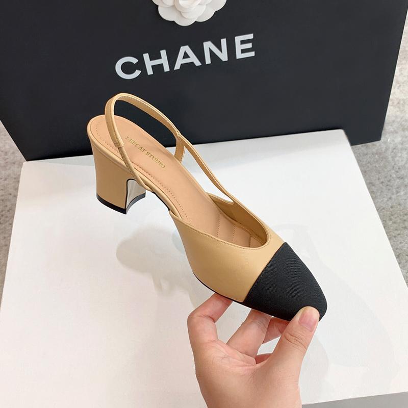 小香风拼色凉鞋女2021年夏新款拼色复古尖头后空粗跟包头高跟单鞋