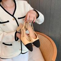 查看小香风拼色凉鞋女2021年夏新款拼色复古尖头后空粗跟包头高跟单鞋价格