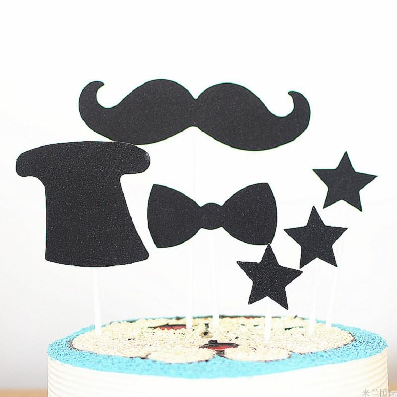 蛋糕装饰黑色系插旗小男人胡子帽子插牌生日快乐父亲节烘焙插件