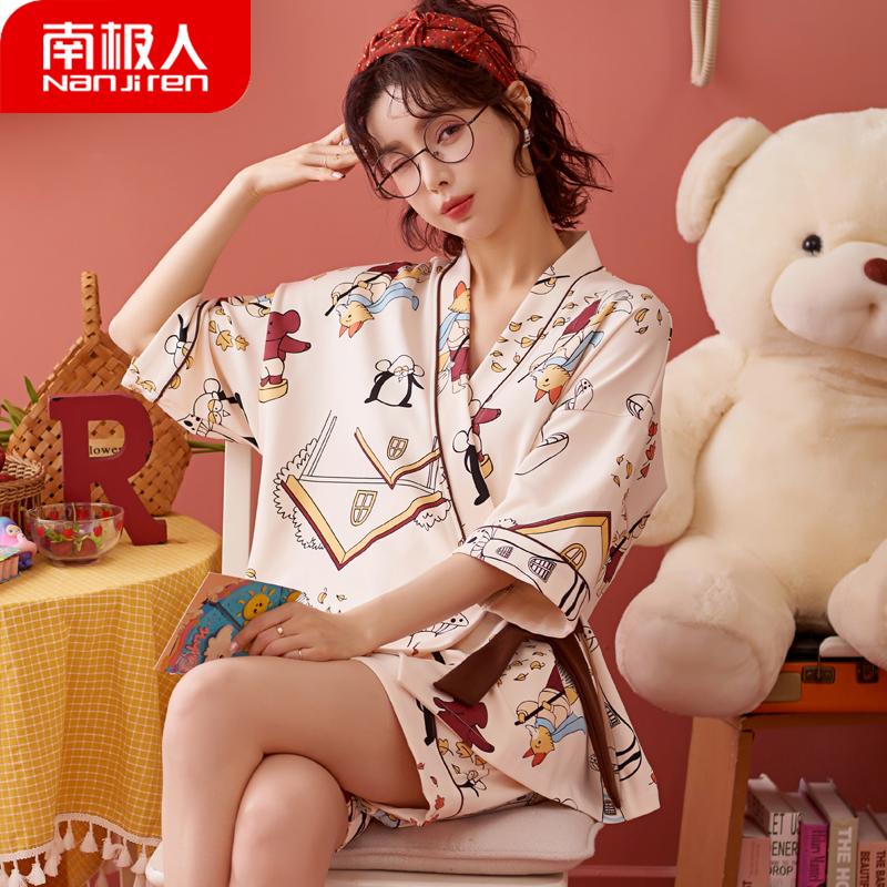 日系和服睡衣女夏季纯棉短袖两件套2021年新款夏天可爱薄款家居服