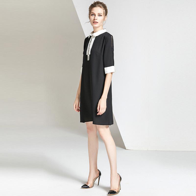 欧美连衣裙 2020春夏新款女装时尚简约纯色衬衫式连衣裙直筒A字裙