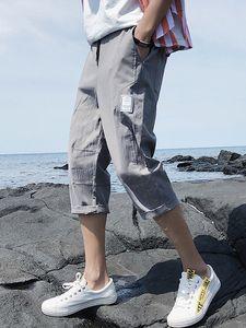 休闲裤男士韩版潮流宽松运动裤夏季新款百搭潮牌薄款贴布七分短裤