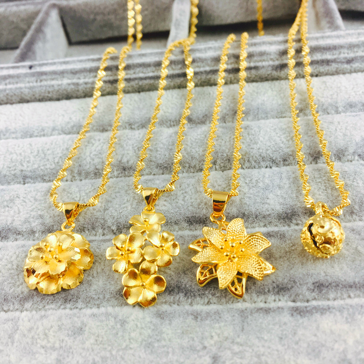 越南沙金女士结婚仿黄金色花朵吊坠