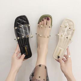 凉拖鞋女外穿2020夏季新款韩版百搭铆钉透明一字平底防滑沙滩女鞋