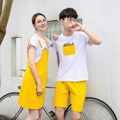 情侣套装小众设计T恤背带裙女男短裤班服定制A469-8805P60男55
