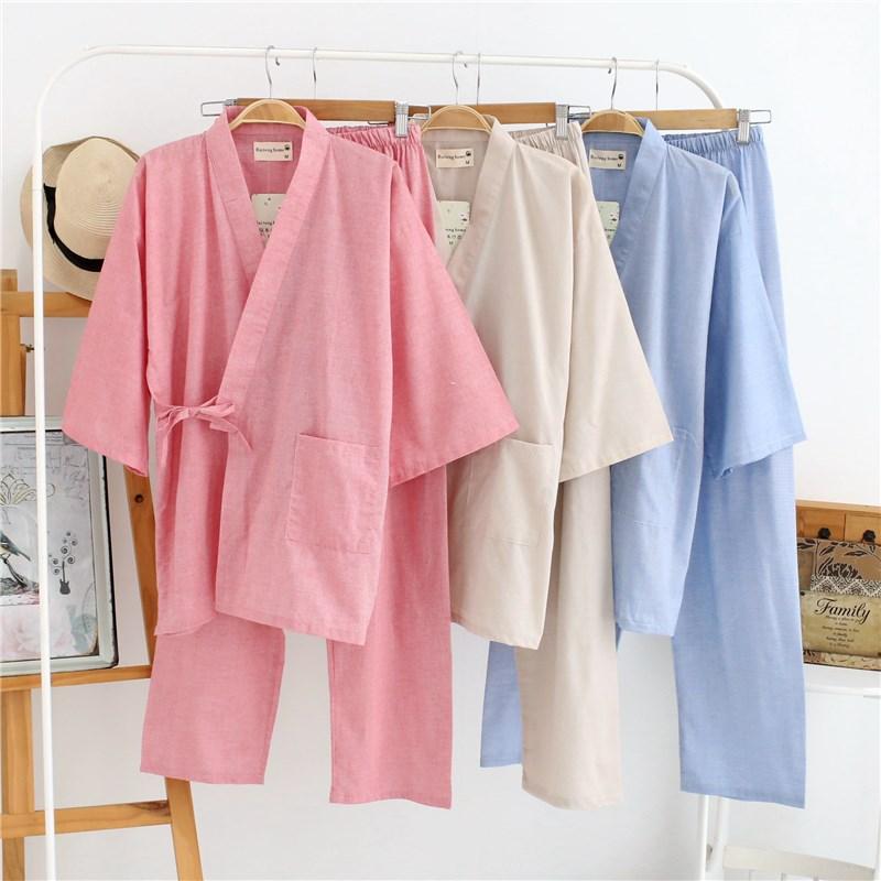 日式春秋纯棉女士日系和服睡衣棉麻和风汗蒸服薄款甚平汗蒸家居服