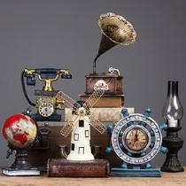 复古小摆件留声机创意家居客厅欧式服装咖啡店店铺餐厅酒柜装饰品