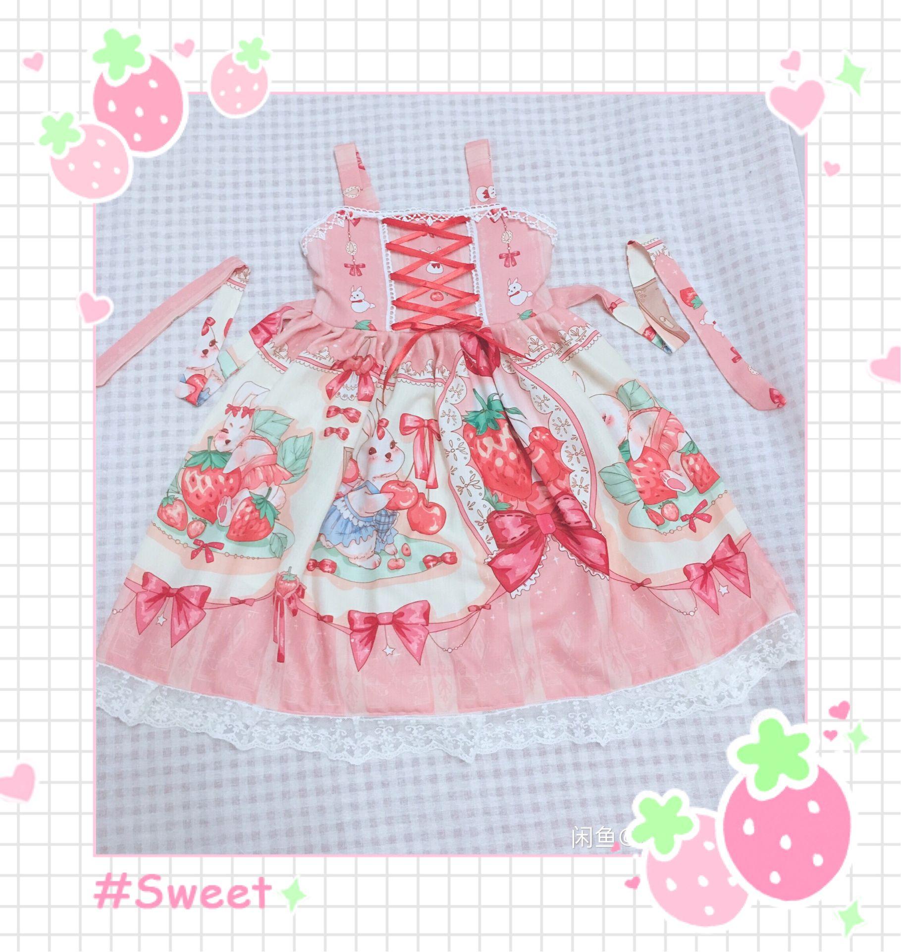 丸子手作りオリジナルイチゴうさぎ子供服可愛いロリータ子供レースJSKワンピース