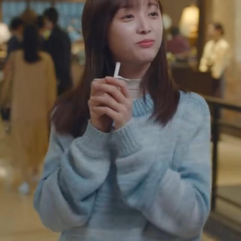 世界微尘里吴宣仪曾鲤同款蓝色毛衣2021年新款女小个子百搭韩版秋