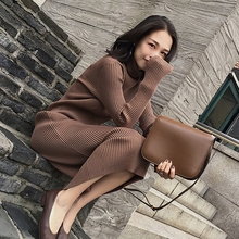 Counter same type clearance high neck cashmere sweater women's sweater medium length solid color slim skirt knitting bottoming shirt