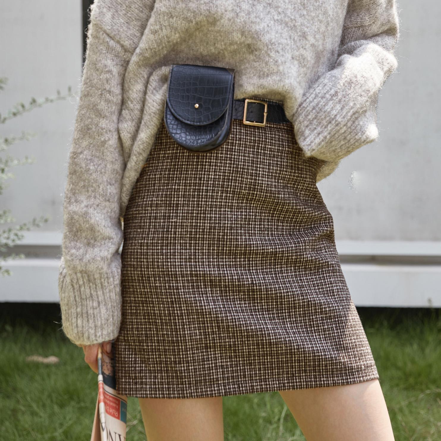 毛呢半身裙女2019秋冬新款韩版气质高腰千鸟格皮带腰包A字短裙