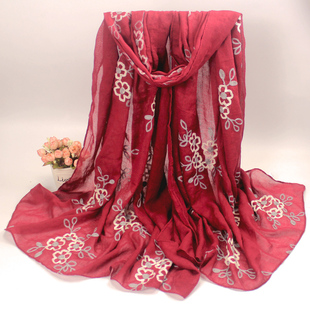 Yi Han Chunqiu flower embroidered flowers shawl scarves Ethnic breathable warmth female winter long scarf Art