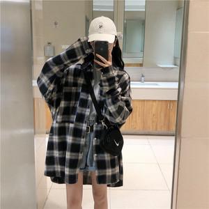 格子衬衫女设计感小众装衬衣复古港味宽松韩版2020新款上衣外套