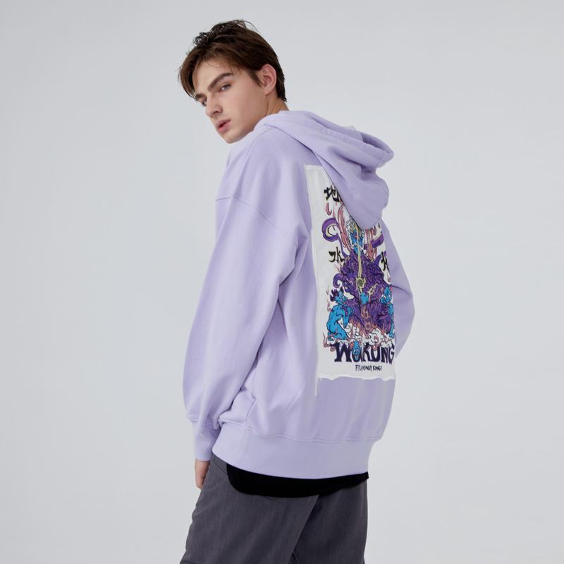 wookong悟空男装秋季新品增长天王浅紫色印花棉质长袖卫衣休闲潮
