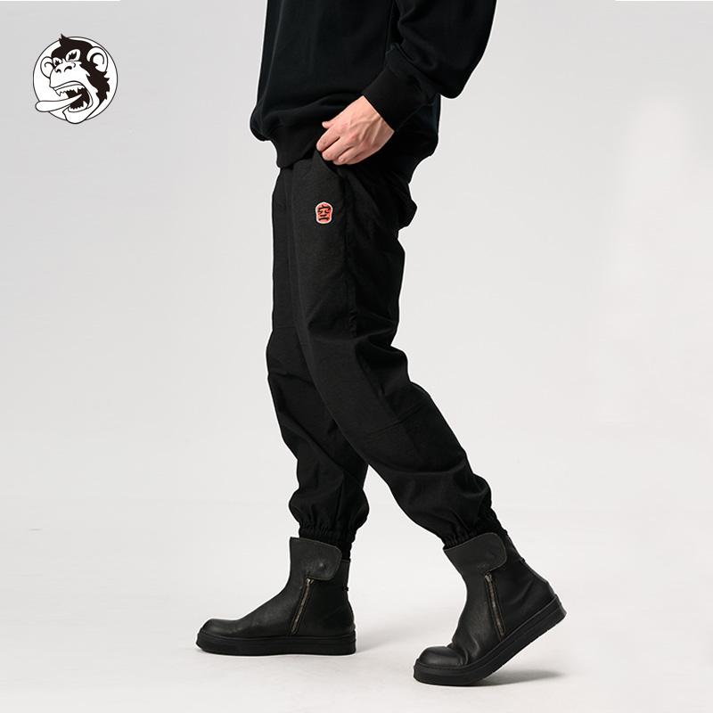 wookong悟空秋冬新品男装黑色棉质刺绣束脚长裤休闲潮
