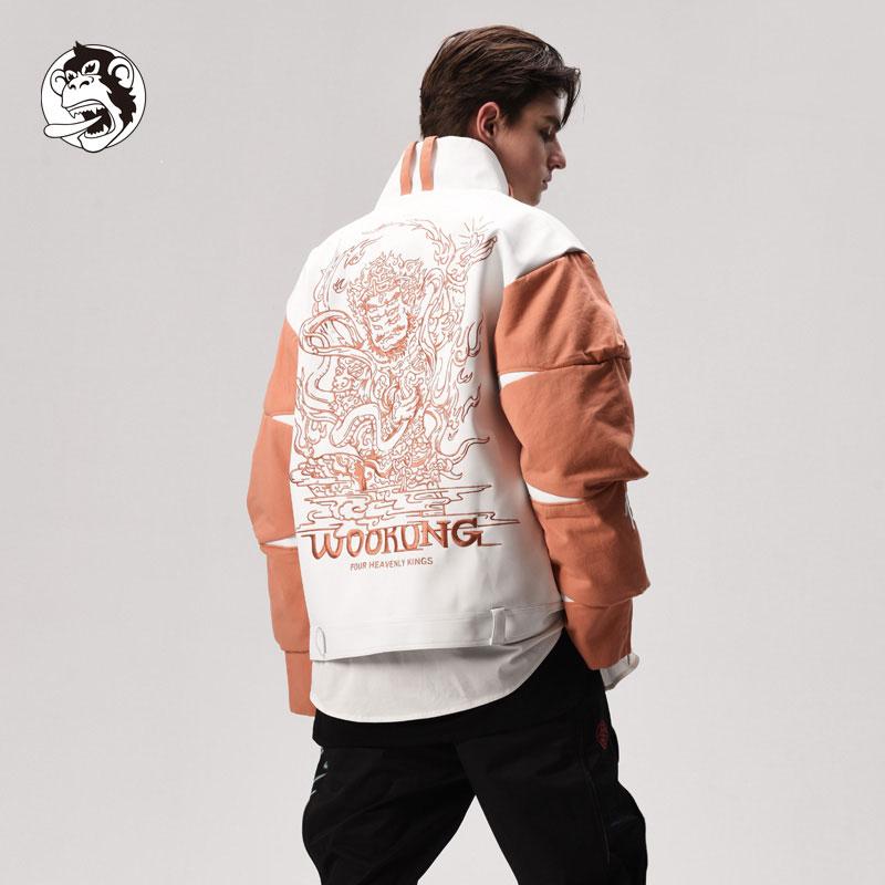 WOOKONG 悟空 广目天王刺绣男装设计款皮衣 秋冬加棉厚款夹克外套