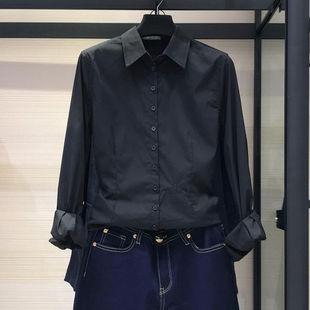 衬衣设计感小众轻熟上衣 女装 新款 黑色衬衫 2020年春季 复古港味长袖