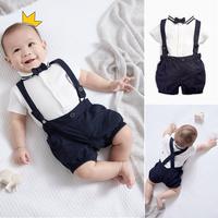 查看现货!英国NEXT男婴童宝宝周岁百日礼服背带裤+领结+衣服三件套装价格