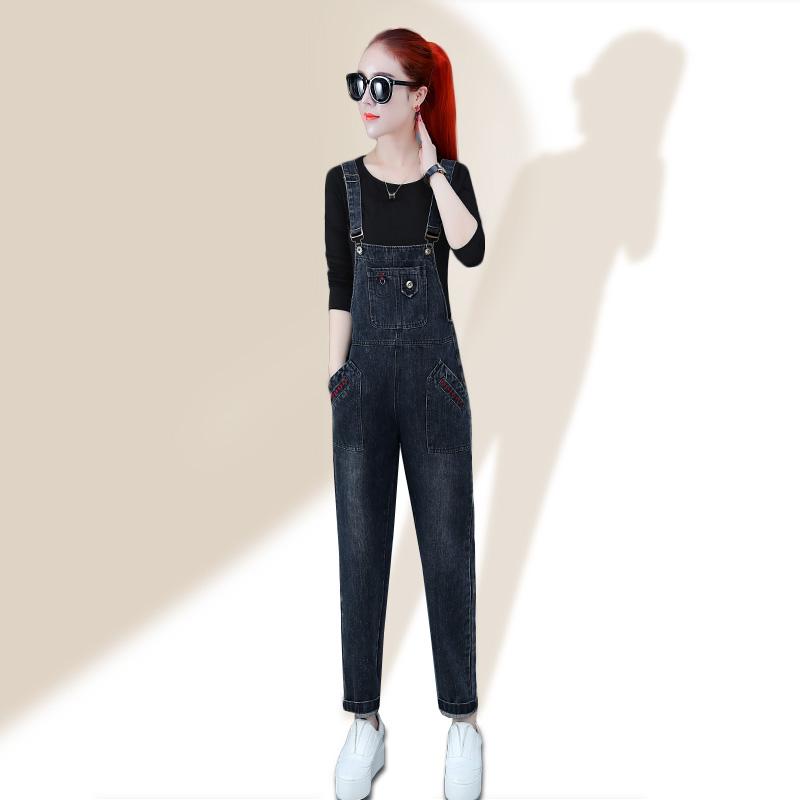 12月12日最新优惠牛仔背带裤女2019新款秋季泫雅风洋气减龄小个子黑灰色连体裤套装