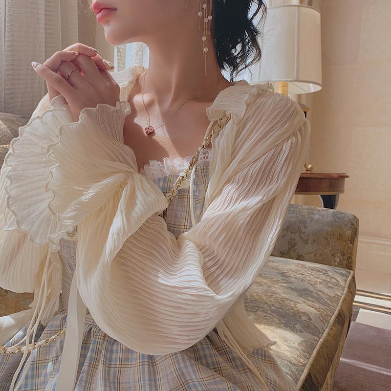 很仙的压褶雪纺防晒开衫夏季短款披肩配裙子外搭薄款外套超仙上衣