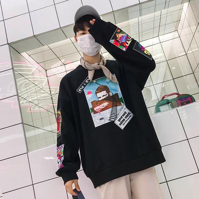 2018春夏季港风嘻哈拼色贴布bf情侣款宽松卫衣P70