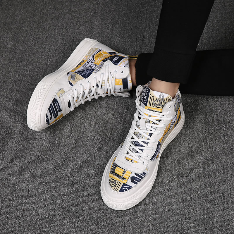 White shoes mens gaobang shoes Korean fashion shoes high top casual shoes versatile trend hip hop board shoes printed high top shoes spring