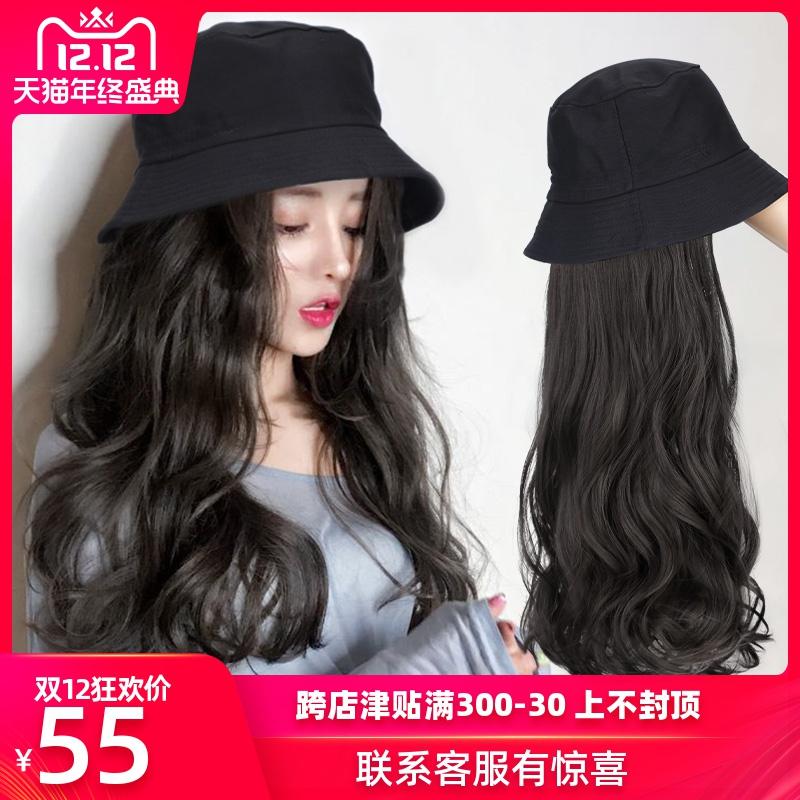 假发女长发帽子长卷发网红渔夫帽子假发一体女冬天时尚自然全头套