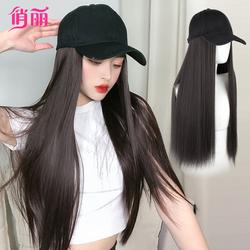 假发女长发时尚鸭舌棒球帽子带假头发一体女夏天网红黑长直全头套