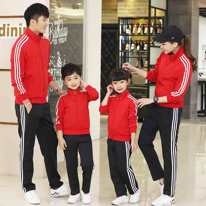 2021 spring and autumn new primary and secondary school uniform class uniform sportswear long sleeve parent-child suit for men and women