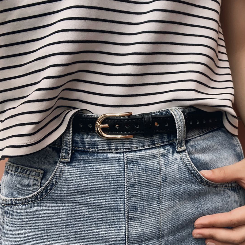 Hollow small belt womens Korean version simple and versatile porous thin belt student decorative Jeans Belt spring and summer fashion