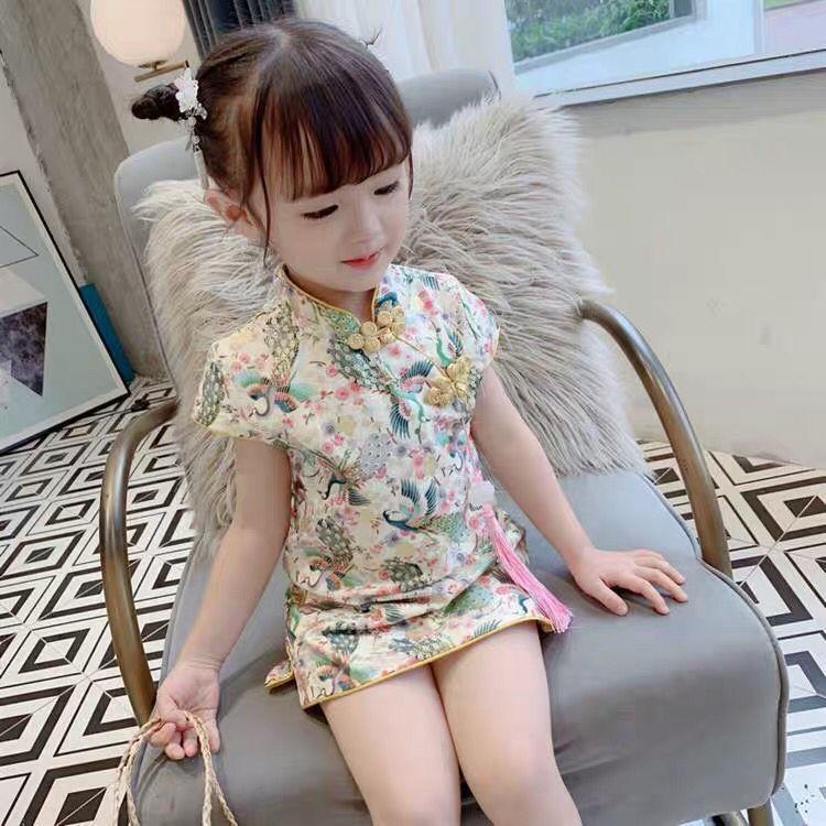 夏季女童短袖洋气公主裙2020新款女孩旗袍公主裙中小童宝宝连衣裙