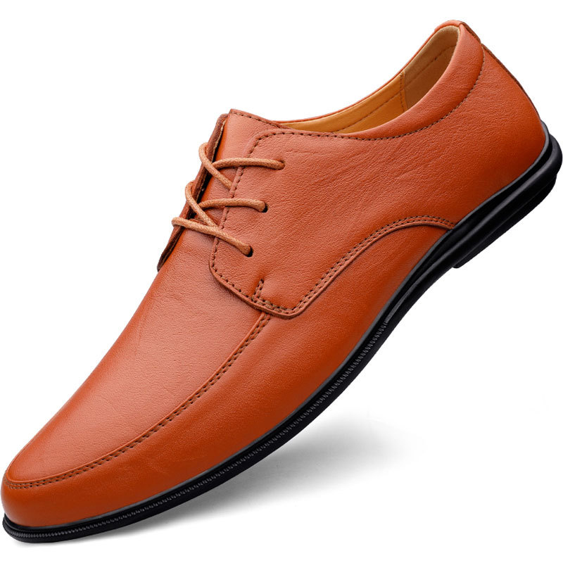 Brand new autumn Oren mens shoes trend dress soft soled mens Cowhide low top business casual single shoes work shoes