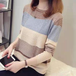 2021春秋新款女装韩版小清新拼色宽松条纹长袖打底针织衫套头薄款