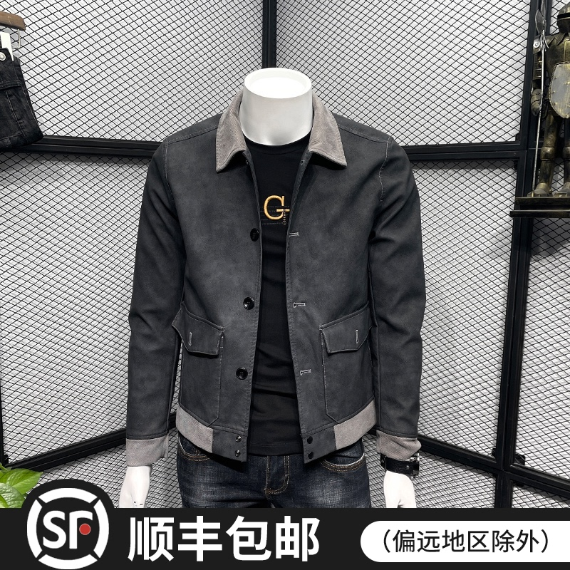 Leather jacket men's slim 2021 spring autumn new fashion trend men handsome short PU leather jacket