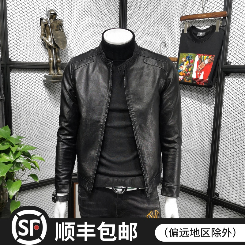 2021 new spring and autumn Korean version of the trend of slim thin velvet leather jacket for young men handsome pu leather jacket casual jacket