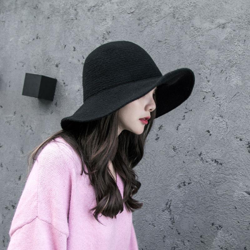 渔夫帽女秋冬天韩版百搭日系羊毛呢针织英伦潮人毛线帽遮阳盆帽子