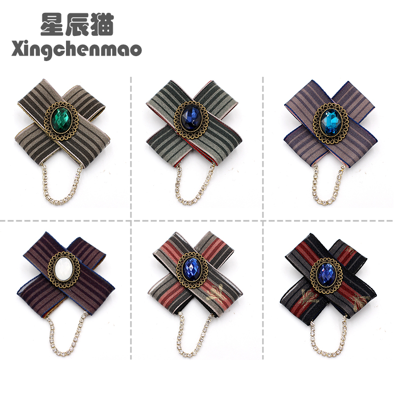 Korean suit coat sweater Brooch lattice gem chain cross Brooch clothing accessories