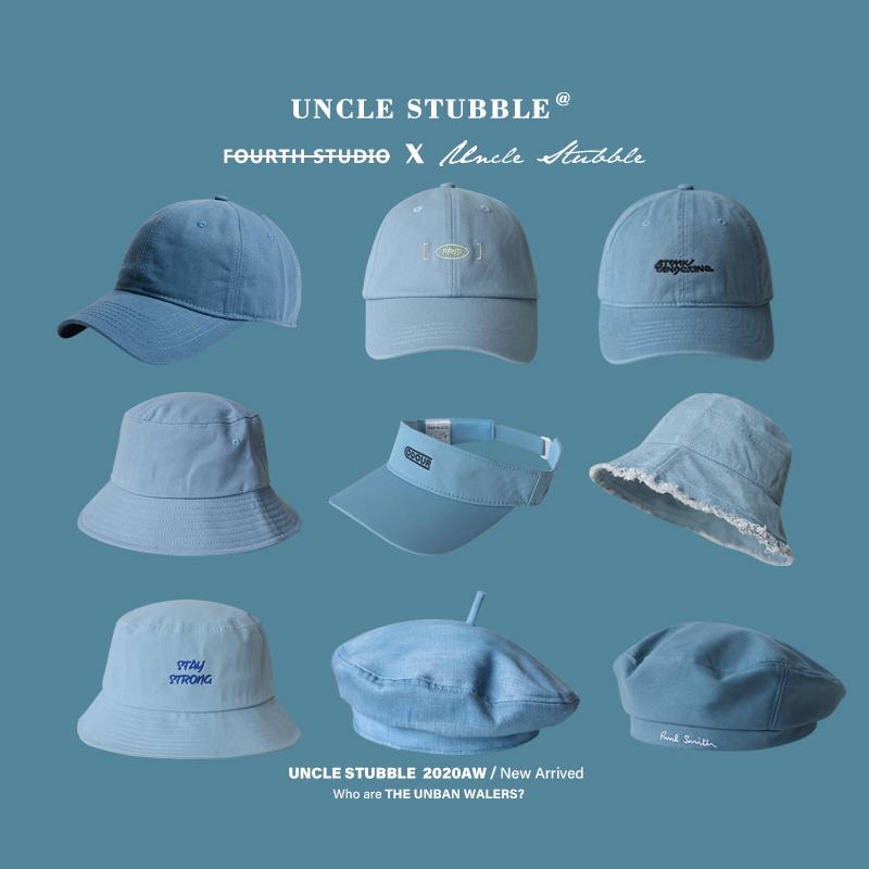 2021年流行色棒球帽男浅蔚蓝色适合亚洲人遮阳渔夫帽子贝雷帽女潮