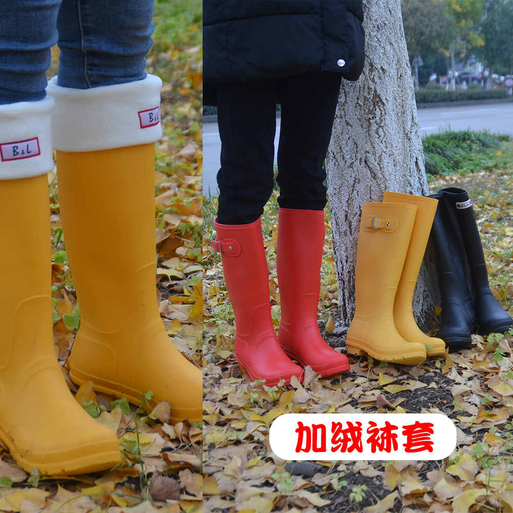 Autumn and winter Plush sock rain boots female adult Korean shoes fashion high boots overshoes PVC waterproof slippers
