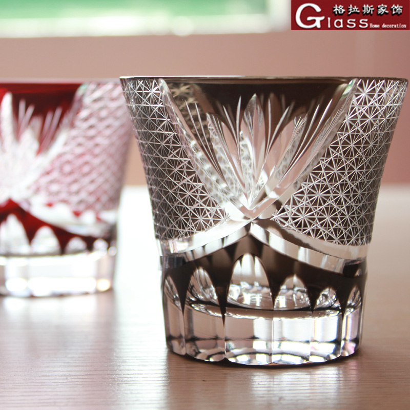 家居用杯子手工吹制双层套色刻花雕花玻璃杯红酒水杯日式切子 ins
