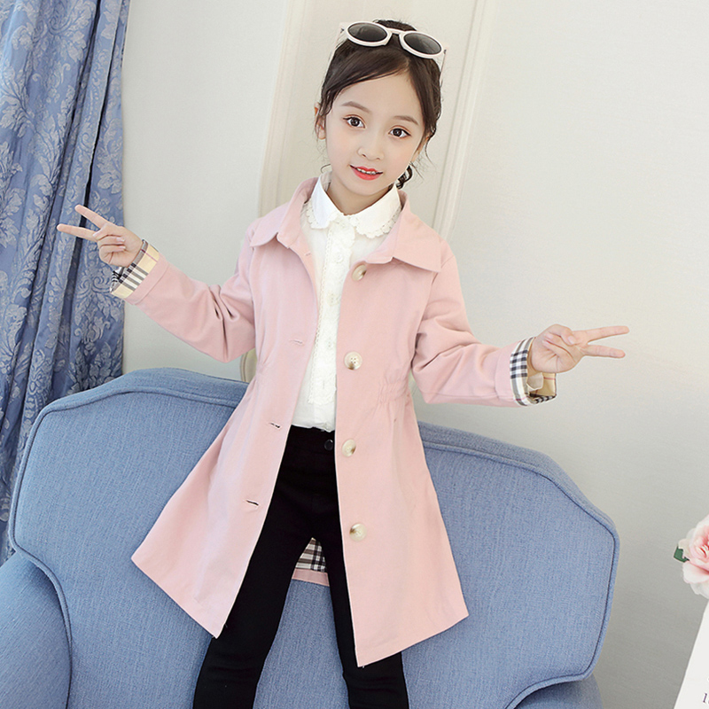 Pure cotton girls windbreaker 2020 new Korean version foreign style middle school childrens Fashion Top childrens mid long autumn coat