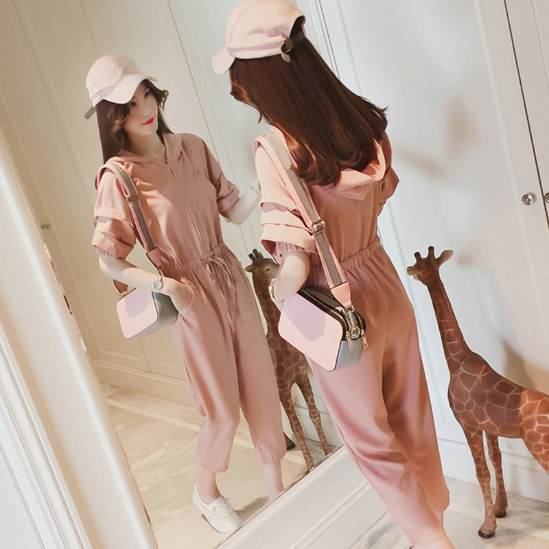 Chiffon one-piece pants womens summer 2020 new high waist strange taste girls one-piece pants thin loose fashionable suit