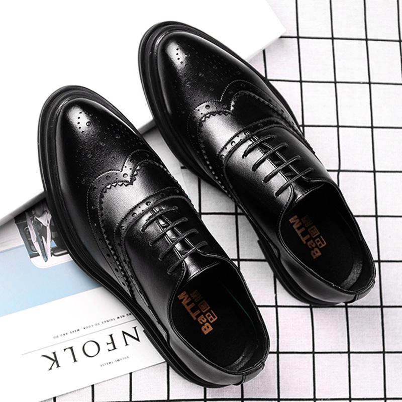 夏季布洛克男鞋韩版英伦皮鞋男士休闲商务正装尖头透气黑色婚礼鞋