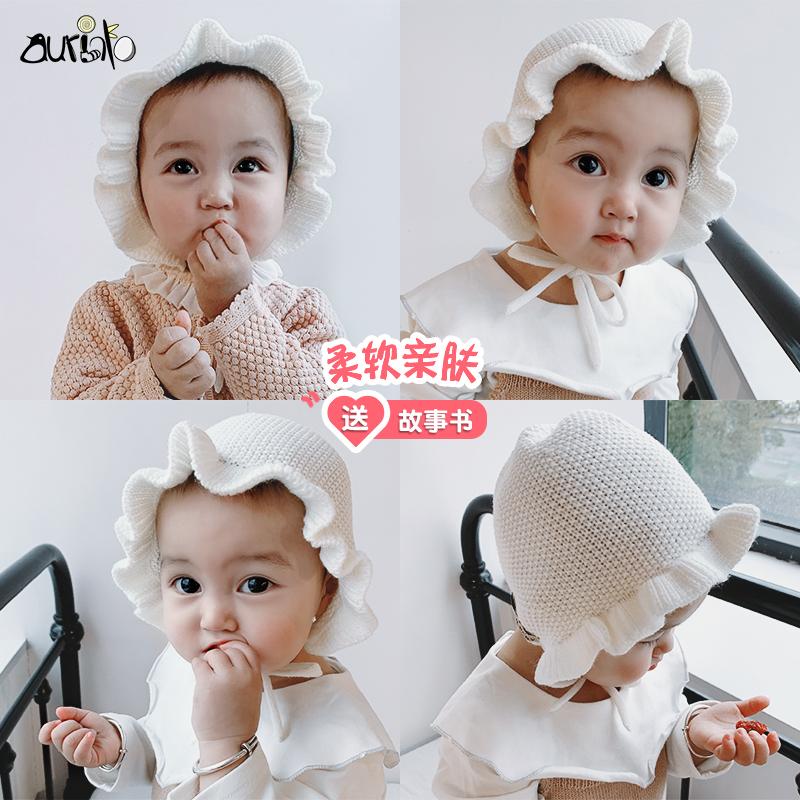 婴儿宫廷帽子春秋季薄款可爱秋天女童韩版公主女宝宝秋冬护耳帽