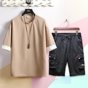龍麥 2019夏裝 假兩件T恤套裝 空白