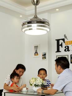 隐形风扇灯吊扇灯 现代简约餐厅客厅卧室LED家用变频电风扇吊灯